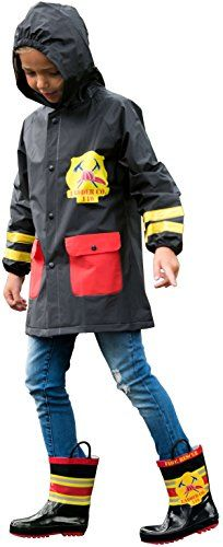 P1001BlueL Boys Raincoat Waterproof Jacket Hood Fireman Print Kids 810 * For more information, visit image link. #FallFashion