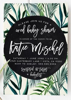 Celebrate your special event with this unique tropical palm tree baby shower invitation! Tropical Baby Shower Invitation, Palm Leaf, Palm Tree, Unique, Boho, Gender Neutral Invitations