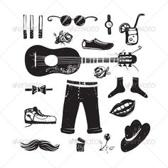 Hipster Clothing and Accessories Collection  #GraphicRiver         Inky Hipster Doodles Set. Vector EPS8. EPS and hi-res JPG included.     Created: 12June13 GraphicsFilesIncluded: JPGImage #VectorEPS Layered: Yes MinimumAdobeCSVersion: CS Tags: accessory #black #blackandwhite #boots #bow-tie #cigarette #clothes #cocktail #collection #doodles #eyeglasses #fashion #guitar #hat #hippie #hipster #illustration #ink #inky #jeans #lips #man #mustache #set #shoes #smile #socks #trousers #vector…