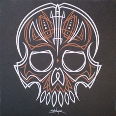 Pinstripe Skull hand-printed art print from Tiny Bird Press on Storenvy Pinstriping Designs, Car Pinstriping, Pinstripe Art, Crane, Skull Hand, Tiny Bird, Garage Art, Handprint Art, Skull And Bones