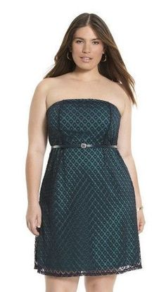 69.95 lace dress now $45 Lane Bryant draped liner 26 28 purple/violet black/teal #LaneBryant #geolacetubedress #EveningOccasionLength37fromtopseam