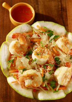 Pomelo shrimp salad with chile lime dressing