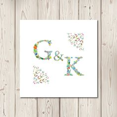This design features your personal initials is beautiful floral lettering. Perfect for any rustic summer wedding. All stationery is personalised free with y