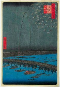 Utagawa Hiroshige (Japanese, Ukiyo-e, 1797-1858): Fireworks at Ryogoku (no. 98 from 'One hundred famous views of Edo' series), Ryogoku, hanabi (no. 98 from 'Meisho Edo hyakkei' series); 1858. Color woodblock print, 33.8 x 22.4 cm. Queensland Art Gallery, South Brisbane, Australia.