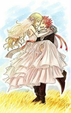 Natsu, Lucy, couple, flowers; Fairy Tail