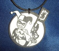 Harley Quinn with gun Necklace by LeFayEngraving on Etsy, £5.00