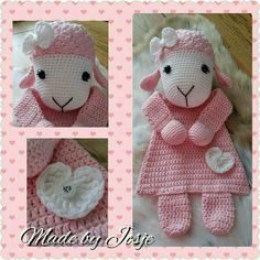 Rag doll things -- Click Visit link to see Crochet Sheep, Crochet Lovey, Crochet Baby Toys, Knit Or Crochet, Crochet Gifts, Crochet For Kids, Crochet Dolls, Baby Blanket Crochet, Lovey Blanket