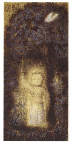 平山郁夫「行七歩」(1962) Buddhism, Modern Contemporary, Museum, Japanese, Inspiration, Painting, Masters, Biblical Inspiration, Master's Degree