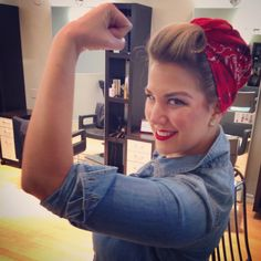 Rosie the Riveter. Easy DIY costume for women this Halloween! Girly and fun! All you need is a denim shirt & a bandana. Add some pinup style makeup for extra glam!
