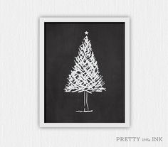 Love this hand drawn christmas tree. $6 on etsy || Instant Download  ||  Hand Drawn Chalkboard Christmas Tree