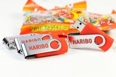 Red Twister USB sticks with Haribo sweets