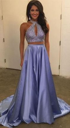 elegant two piece lavender satin prom dress with beading, fashion shiny lavender party dress with keyhole