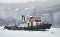 タグボート3,Tagboat 3,Original Watercolor painting by Masato Watanabe