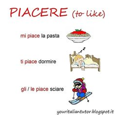 """Some examples with the Italian verb """"PIACERE"""" (to like)"""