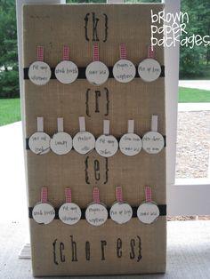 brown paper packages: {burlap chore chart}