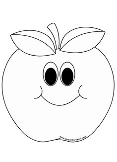 mela-2 Fruit Coloring Pages, Easy Coloring Pages, Coloring Pages To Print, Coloring Books, Bullet Journal Halloween, Apple Theme, Crafts For Seniors, Fruit Art, Preschool Art