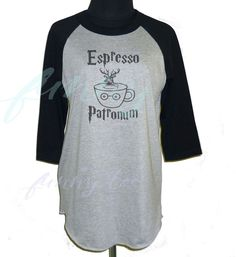 222bca69fbae Expresso Patronum Harry Potter S M L XL XXL raglan shirt 3 4 sleeve  baseball tee