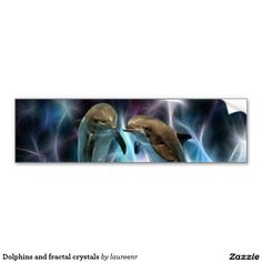 Dolphins and fractal crystals car bumper sticker