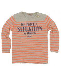 Scotch and Soda Shrunk jongens - Longsleeve Streep neon oranje