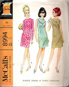 """Vintage 1967 McCall's 8994 Dress in Three Versions Sewing Pattern Size 12 Bust 32"""""""