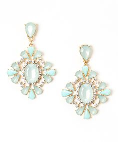 Mint Oval Burst Drop Earrings