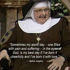 Mother Angelica on suffering. I absolutely love when I turn the radio station and find her voice. Reminds me of my grandma straight to the point and with love.