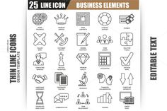 Thin Line Business Elements Icons by alexdndz on @creativework247