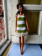Ravelry: #0845 Dress in Grey, Pink and White pattern by stickatillbarbie.se