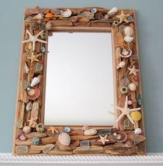 "Beach Decor Shell Mirror Driftwood Mirror Seashell Mirror Nautical Mirror Wall Mirror - 24x18"" by beachgrasscottage on Etsy https://www.etsy.com/listing/217310237/beach-decor-shell-mirror-driftwood"
