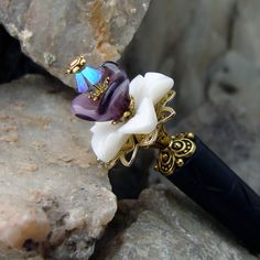 Shell Carved Flower Hair Stick with Czech Pressed Glass and Swarovski Crystal - Lilith by Hairjems on Etsy