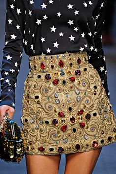 Dolce & Gabbana jewel encrusted skirt. How gorgeous would this be as an Anarkali?