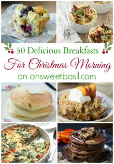 50 Christmas Breakfast Ideas - Oh Sweet Basil - Florette Narraway Christmas Morning Breakfast, What's For Breakfast, Christmas Brunch, Christmas Cooking, Breakfast Dishes, Breakfast Recipes, Christmas 2019, Christmas Decor, Holiday Recipes