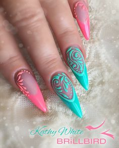 Pink and green soft stiletto nails with Sugaring design using beautiful Brillbird products.