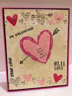#SSSFAVE Super heart border & sketch heart dies. I used the rub ons, gold gelato and watercolor paper in the Feb kit. Added glossy accents to the hearts.