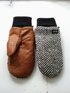 Herringbone wool and tan leather mittens