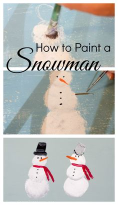 Learn How to Paint a Snowman, fun and easy tutorial @ FlowerPatchFarmhouse.com