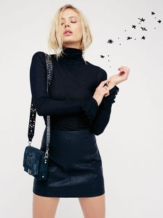 Modern Femme Vegan Mini Skirt at Free People Clothing Boutique Casual Outfits, Cute Outfits, Black Outfits, Vegan Clothing, Style Classique, Daily Dress, Leather Mini Skirts, Leather Skirt, Lookbook