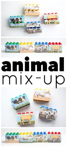 Animal Mix-Up LEGOs: Such a simple activity for toddlers that is great for fine motor development and language development (learning animal sounds). Animal Activities For Kids, Activities For 1 Year Olds, Indoor Activities For Toddlers, Farm Activities, Toddler Learning Activities, Preschool Language Activities, Preschool Farm, Preschool Themes, Kids Learning