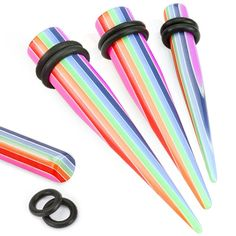 Rainbow Striped Solid Acrylic Taper with O Ring