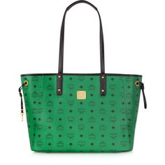 MCM Shopper Project Visetos Paradise Green Reversible Medium Tote ($735) ❤ liked on Polyvore featuring bags, handbags, tote bags, canvas totes, canvas shopping bags, reversible tote bags, evening handbags and green tote bag