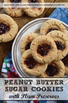 Peanut Butter Sugar Cookies with Plum Preserves - When you're in the mood to fancy things up a bit, but you're still craving peanut butter and jelly, these cookies are just the thing. Each peanut butter flavored ball of dough is rolled in granulated sugar and then filled with a small spoonful of plum preserves. These peanut butter sugar cookies are crunchy, chewy, gooey, and sweet all at the same time, making them the perfect cookie, no matter what the occasion.