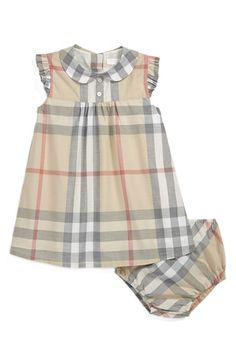 Free shipping and returns on Burberry 'Davina' Dress (Baby Girls) at Nordstrom.com. Faded checks add to the darling vintage vibe of a woven-cotton dress with a Peter Pan collar and sweet flutter sleeves.