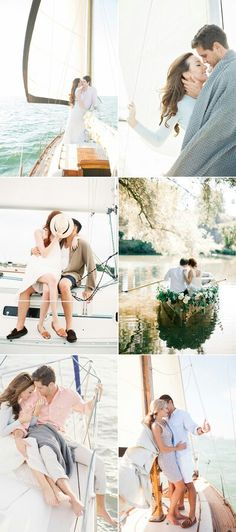 Engagement photos. Boat. Credits (left to right from the top): 1313 Photography / Melanie Gabrielle / Lauren Kinsey / Melanie Gabrielle / Hunter Ryan Photo