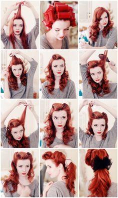 1950s Hairstyles, Trendy Hairstyles, Wedding Hairstyles, Retro Updo Hairstyles, Gatsby Hairstyles, Hairstyle Hacks, Korean Hairstyles, Fashion Hairstyles, Hairstyle Tutorials
