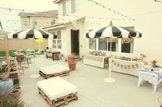 outdoor party with pallet seating!
