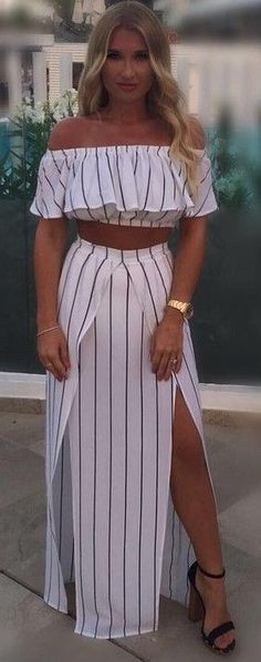 #summer #fresh #trends   Striped Two Piece Set