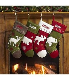 Christmas stockings, would make more traditional with burlap perhaps, like the bear and moose