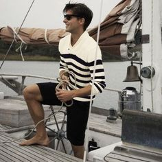 Black and white striped sweater, sailing