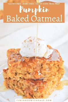 Pumpkin Spice Baked Oatmeal is perfect for a cozy healthy fall breakfast. This perfectly baked oatmeal recipe is awesome for a make-ahead breakfast or meal prep. Full of pumpkin puree, pumpkin pie spice and a touch of maple syrup, this easy pumpkin oatmeal bake will be a new family favorite! It's also gluten free, dairy free and vegan. #finishedwithsalt #pumpkinrecipes #pumpkinoatmeal #pumpkinspicerecipes #healthy #vegan #glutenfree | finishedwithsalt.com Gluten Free Oatmeal, Gluten Free Pumpkin, Vegan Pumpkin, Baked Pumpkin, Pumpkin Recipes, Fall Breakfast, Quick And Easy Breakfast, Pumpkin Oatmeal, Baked Oatmeal