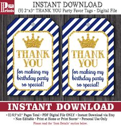 Prince Birthday Favor Tags - Prince Thank You Party Favor Tags - Printable Digital File - INSTANT DOWNLOAD by PuggyPrints on Etsy